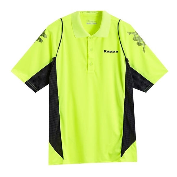 KAPPA 義大利型男吸濕排汗速乾KOOL-DRY POLO衫 螢光黃 深灰底炭灰點