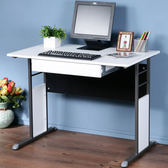 Homelike 巧思辦公桌-仿馬鞍皮100cm(附抽屜)桌面:白/桌腳:灰/飾板:紅