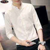 七分袖襯衫襯衫男潮流夏季七分袖修身休閒短袖新品學生個性白色帥氣針織衫(免運)