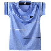 夏季男士速乾衣冰絲薄款短袖打底衫圓領運動寬鬆肥佬加肥加大T恤『艾麗花園』