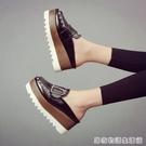 英倫風復古女鞋夏季時尚鉚釘包頭拖鬆糕厚底半拖鞋高跟涼拖鞋