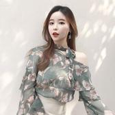 春裝2018新款女韓小清新露肩雪紡衫