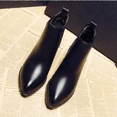 裸靴高跟2018秋冬新款英倫韓版短筒馬丁靴潮高跟粗跟尖頭百搭女短靴裸靴