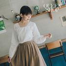 Queen Shop【01120173】蕾絲花邊造型長袖棉麻上衣*現+預*