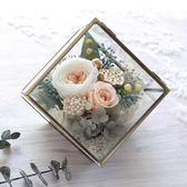 奧斯汀玫瑰永生花康乃馨小立方玻璃罩禮盒