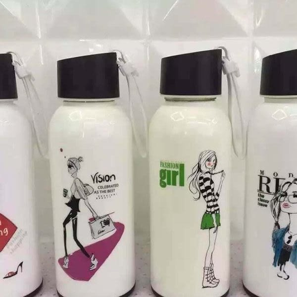 水杯   白色時尚女孩玻璃水杯310ml 水瓶 瓶子 咖啡杯 隨行杯 水壺 【KCG091】-收納女王