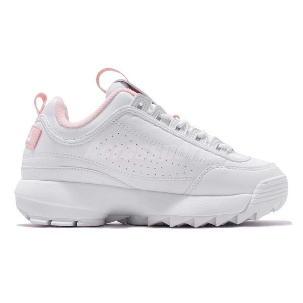 Fila 鋸齒鞋 Disruptor 2 白 粉紅 老爹鞋 韓妞必備 女鞋 復古運動鞋【PUMP306】 4C113T115
