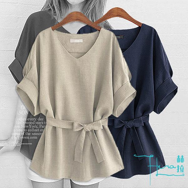 【Hera 赫拉】腰帶純色短袖棉麻上衣-2色