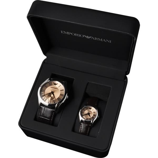 Emporio Armani 亞曼尼 羅馬浪漫情人對錶/情侶手錶-香檳金x咖啡/42+26mm AR9110