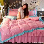 百貨週年慶-床裙式床罩四件套全棉少女公主風花邊被套棉質1.8m/2.0米床上用品