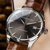 HAMILTON 漢米爾頓 Jazzmaster Gent 爵士尊華真皮腕錶 咖啡 H32451581 熱賣中!