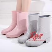 雨鞋 日式雨鞋女成人中筒雨靴時尚水靴夏季防水膠鞋防滑膠靴水鞋套鞋 4色35-39