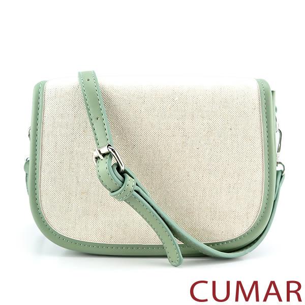 CUMAR 日系拼接皮革麻料掀蓋斜背包-綠色
