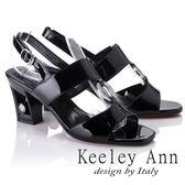★2018春夏★Keeley Ann雅緻低調~水鑽圓形飾釦漆皮質感粗跟涼鞋(黑色)-Ann系列