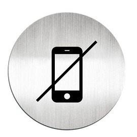 迪多Deflect-o 鋁質圓形貼牌-禁止使用手機 610910C