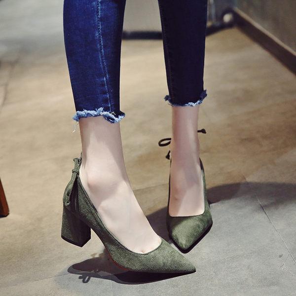 綠色/36號 秋季款韓版尖頭鞋 淺口粗跟高跟鞋子