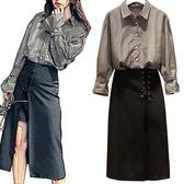 襯衫半身裙兩件套L-4XL中大尺碼實拍韓版胖mm秋季200斤遮肉寬鬆條紋襯衫不規則半身裙兩件套R18A-8522