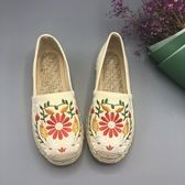 老北京繡花鞋搭配漢服女民族風女鞋平底淺口透氣漁夫鞋草編鞋 koko時裝店