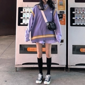 針織背心 秋冬韓版中長款V領撞色寬鬆無袖針織毛衣馬甲女背心上衣外穿學生 - 巴黎衣櫃
