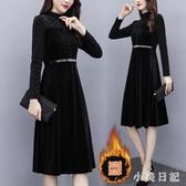 長袖洋裝新款大碼時尚胖MM加絨中長款女神范網紅款氣質連身裙 XN9228『小美日記』
