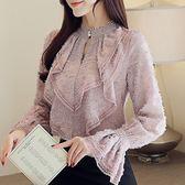 VK精品服飾 韓系波浪邊蕾絲衫喇叭袖雪紡衫長袖上衣