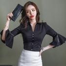 歐媛韓版 女裝春裝新款OL修身顯瘦喇叭袖v領氣質韓國襯衫 黑襯衣