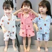 兒童睡衣男童女童寶寶夏季套裝男孩夏天薄款短袖親子家居服【雙11狂歡購物節】