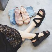 厚底涼鞋韓版真皮厚底沙灘鞋-2色