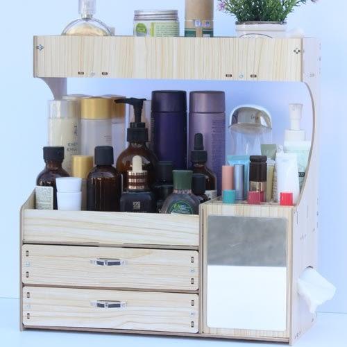 木制桌面化妝品收納盒化妝品整理盒抽屜式置物架大號梳妝台收納架【全館88折起】