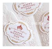 幸福朵朵*【歐式皇冠HAPPY WEDDING DAY文字小吊牌】婚禮小物.禮物裝飾吊牌.烘焙包裝