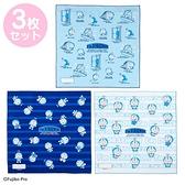 小禮堂 哆啦A夢 日製 純棉紗布便當包巾組 餐巾 手帕 桌巾 桌墊 43x43cm (3入 藍 時光機) 4550337-74747