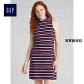 Gap女裝 無袖半高領中長款洋裝 357853-海軍藍條紋