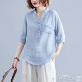棉麻上衣 棉麻襯衫女文藝大碼女裝夏季V領休閒百搭寬鬆顯瘦清涼亞麻上衣薄 爾碩 雙11
