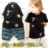 【韓版童裝】彈力直升機星球造型上衣-黑【BD18030607】
