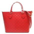GUCCI 古馳 紅色雙G壓紋牛皮手提肩背2WAY包 432124 Signature Leather【BRAND OFF】