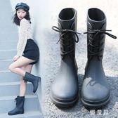 秋新款時尚小馬靴套鞋輕便防滑水雨靴中筒水鞋膠鞋潮成人雨鞋女 QG7620『優童屋』