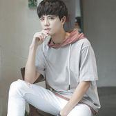秋冬男裝連帽半袖短袖T恤五分袖假兩件衛衣學生韓版寬鬆運動潮流