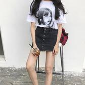 85折新款韓版高腰A字裙包臀裙短裙黑色牛仔裙開學季