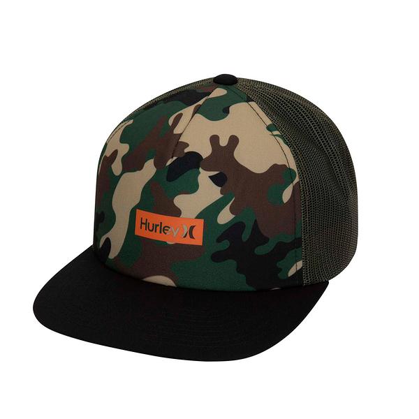 HURLEY 配件M PRINTED SQUARE TRUCKER CAMO GREEN 棒球帽