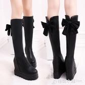 小個子中筒靴女不膝上長靴秋冬季新款厚底高筒內增高長筒靴子 格蘭小鋪