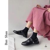 粗跟皮鞋女時韓版素色圓頭休閒百搭單鞋【愛物及屋】