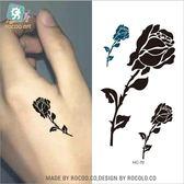 防水 紋身 貼紙 虎口 手背 男女款 簡約 玫瑰花 刺青 大圖案 貼紙