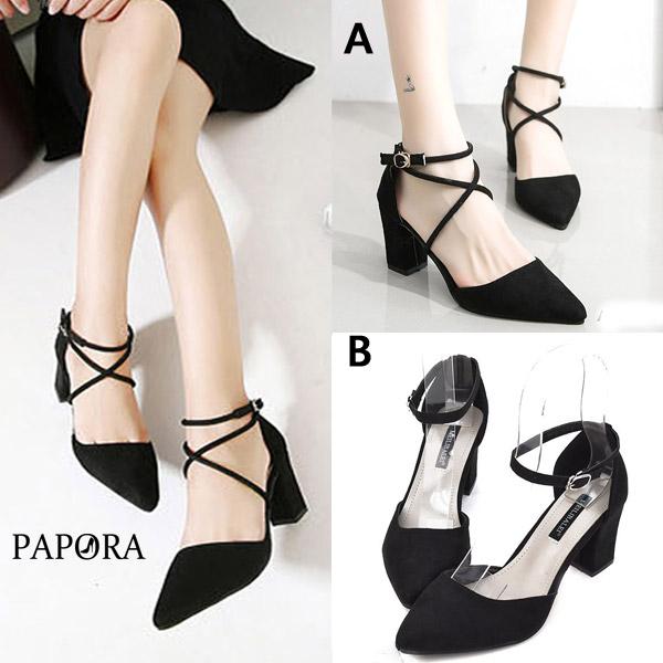 PAPORA尖頭性感A款B款粗跟鞋高跟鞋K41036黑
