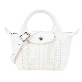 【南紡購物中心】LONGCHAMP LE PLIAGE CUIR系列英式刺繡小羊皮手提/斜背兩用包 (迷你/象牙)