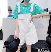 新款夏韓版減齡可鹽可甜吊帶褲女小個子顯高牛仔工裝吊帶短褲「錢夫人小鋪」