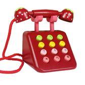 兒童紅色草莓木制電話機過家家玩具2-5歲生日禮物早教認知玩具 韓趣優品☌