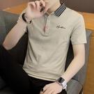 夏季短袖T恤男士韓版襯衫領POLO衫有帶領潮流冰絲翻領潮上衣服 3C數位百貨