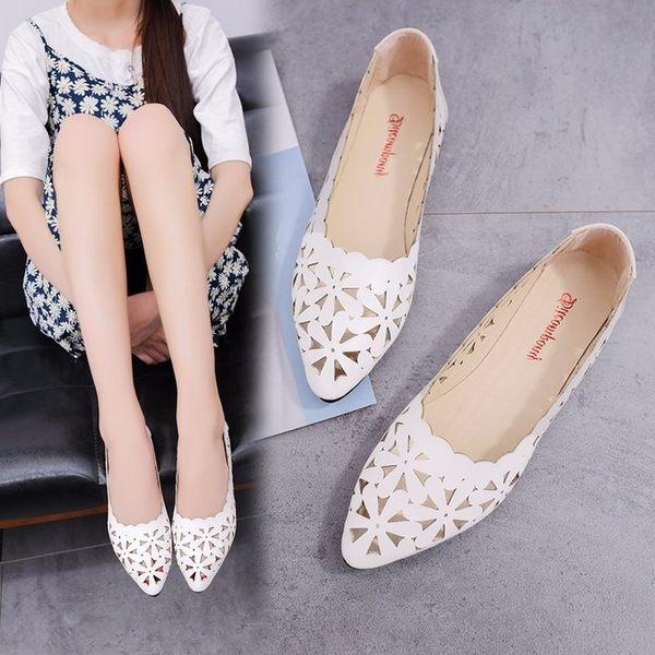 新品新款鏤空透氣女鞋淺口尖頭小白鞋孕婦大尺碼平跟平底單鞋女 最後一天85折