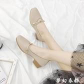 粗跟奶奶鞋春秋新款中跟一字扣復古瑪麗珍女鞋蝴蝶結方頭淺口單鞋 夢幻衣都
