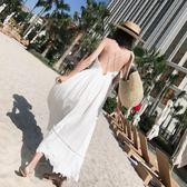 巴厘島度假沙灘裙V領性感露背長裙細肩帶交叉白色吊帶連身裙泰國 艾尚旗艦店